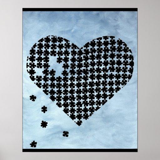 Coeur de puzzle affiche