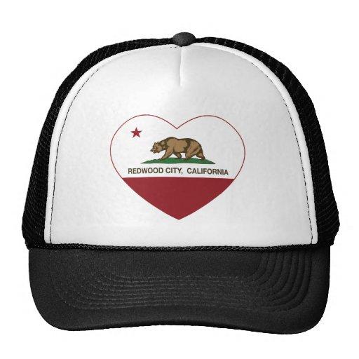 coeur de Redwood City de drapeau de la Californie Casquettes