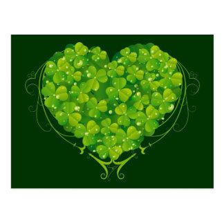 Coeur de shamrock carte postale