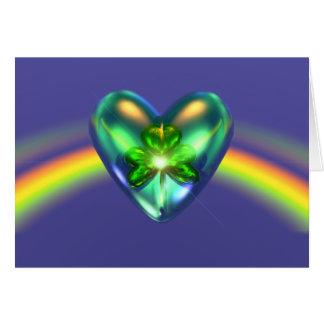 Coeur de shamrock de jour de St Patricks Carte De Vœux