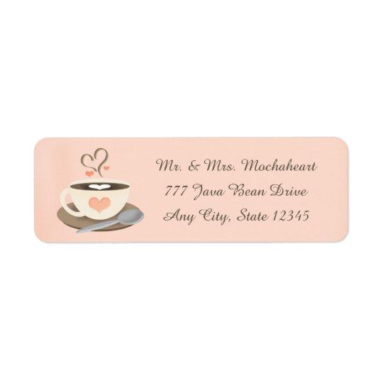 Coeur de tasse de café étiquettes d'adresse retour