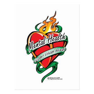 Coeur de tatouage de santé mentale carte postale