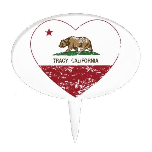 coeur de tracy de drapeau de la Californie affligé Pique À Gâteau