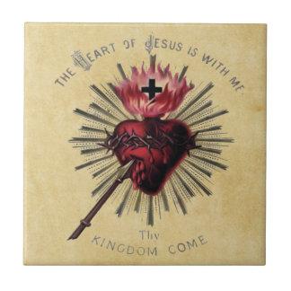 Coeur de tuile de Jésus Petit Carreau Carré