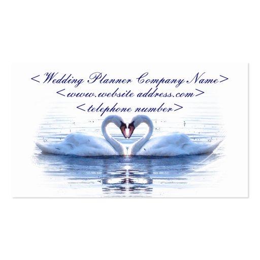 Coeur de wedding planner de cygnes cartes de visite professionnelles