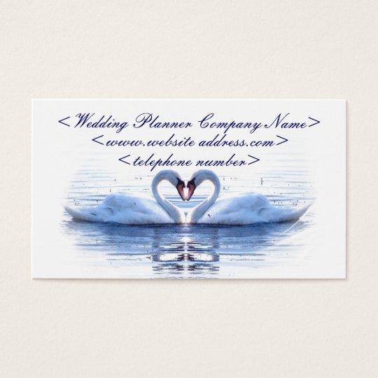 Coeur de wedding planner de cygnes cartes de visite