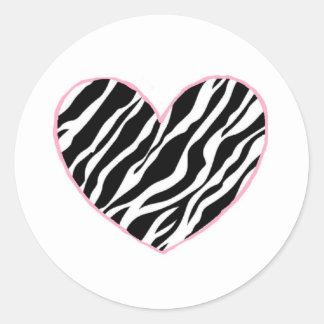 Coeur de zèbre sticker rond