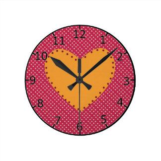 Coeur décoratif horloge ronde