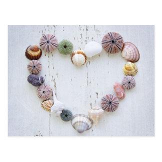 Coeur des coquillages et des roches cartes postales