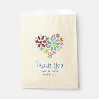 Coeur des fleurs sachets en papier