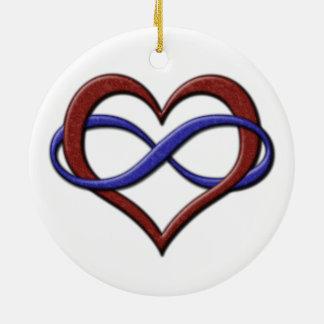 Coeur d'infini de fierté de Polyamory Ornement Rond En Céramique