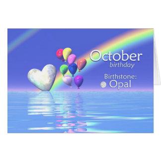 Coeur d'opale d'anniversaire d'octobre carte de vœux