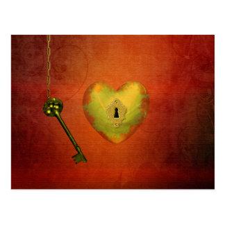 Coeur d'or avec la clé - carte postale