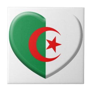 Coeur drapeau Algérie love Petit Carreau Carré