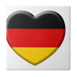 Coeur drapeau Allemand j'aime l'Allemagne Petit Carreau Carré