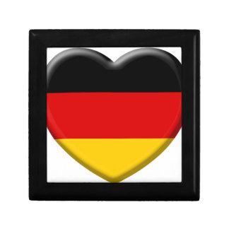 Coeur drapeau Allemand j'aime l'Allemagne Petite Boîte À Bijoux Carrée