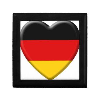 Coeur drapeau j'aime Allemagne Petite Boîte À Bijoux Carrée