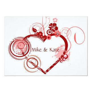 Coeur du mariage carton d'invitation  12,7 cm x 17,78 cm