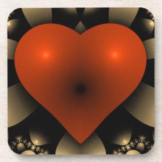 coeur du rouge 3D Sous-bocks
