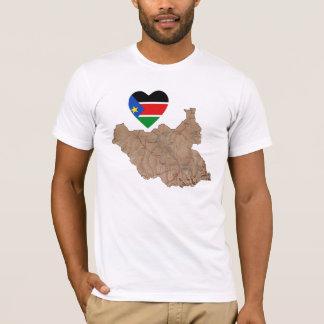 Coeur du sud de drapeau du Soudan et T-shirt de
