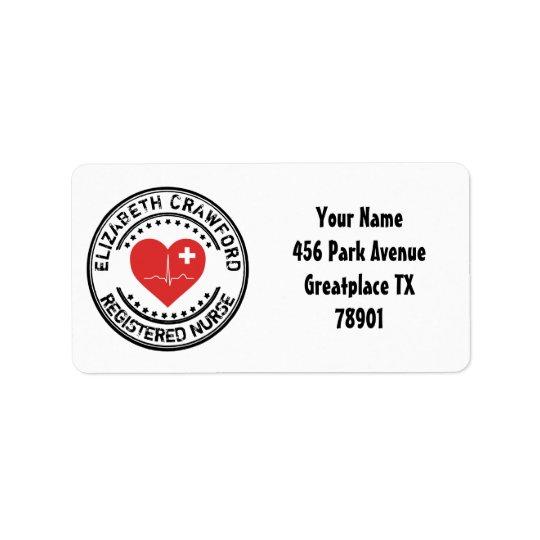 Coeur ECG de timbre d'infirmier autorisé avec Étiquette D'adresse