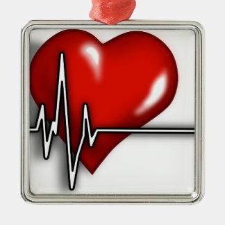 Coeur ECG Ornement Carré Argenté