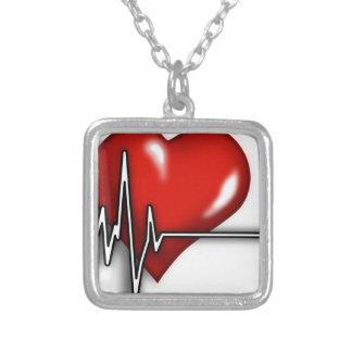 Coeur ECG Pendentif Carré