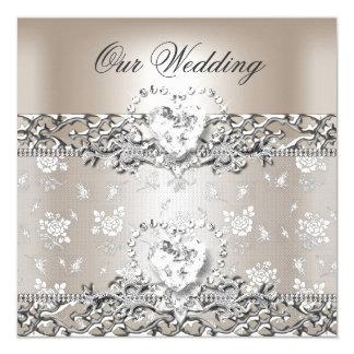 Coeur élégant de diamant de crème d'argent de carton d'invitation  13,33 cm