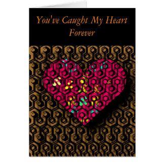 Coeur emprisonné romantique, carte de
