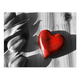 Coeur en bois carte postale