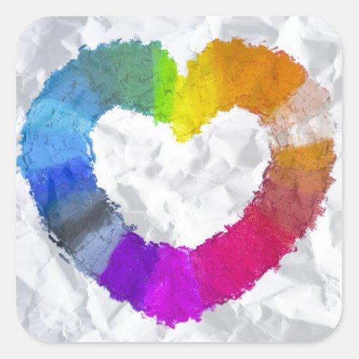 Coeur en pastel stickers carrés