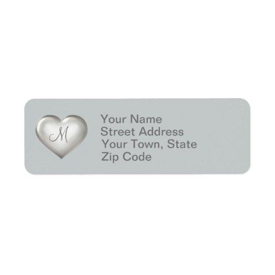 Coeur en verre argenté de monogramme étiquettes d'adresse retour