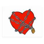 coeur enchaîné et verrouillé cartes postales