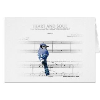 Coeur et âme - carte de note de geai bleu