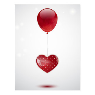 Coeur et ballon carte postale