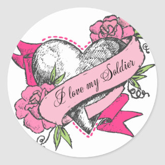Coeur et roses sticker rond