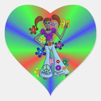 Coeur étranger de hippie sticker cœur