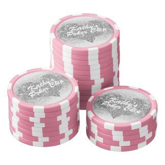 Coeur fait sur commande de scintillement de Faux Rouleau De Jetons De Poker