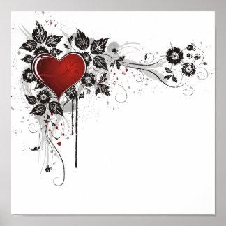 Coeur, feuille et fleurs brillants - original posters
