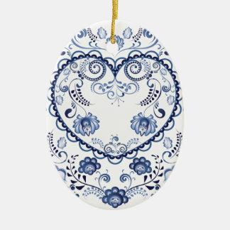 Coeur floral bleu 3 ornement ovale en céramique