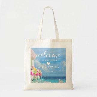 Coeur floral élégant d'accueil de mariage de plage sac