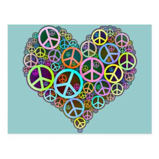 Coeur frais d'amour de paix carte postale