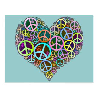 Coeur frais d'amour de paix cartes postales