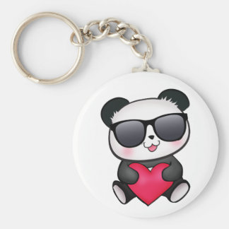 Coeur frais de Saint-Valentin de lunettes de solei Porte-clé Rond