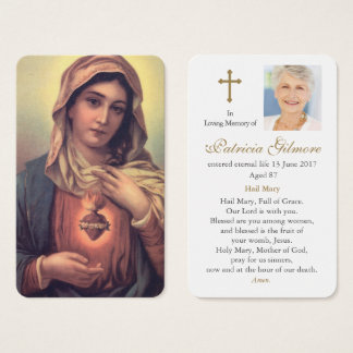 Coeur funèbre de la carte   de prière de Mary 1