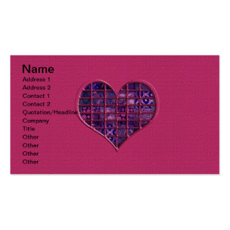 Coeur girly à la mode rose avec le matériel pourpr carte de visite