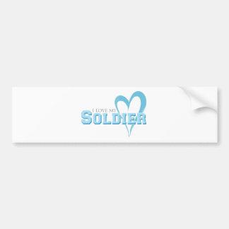 Coeur griffonné par bleu - amour d'I mon soldat Autocollant De Voiture