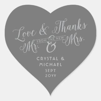 Coeur gris - épouser argenté d'amour et de mercis sticker cœur
