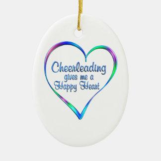 Coeur heureux Cheerleading Ornement Ovale En Céramique