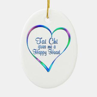Coeur heureux de Chi de Tai Ornement Ovale En Céramique